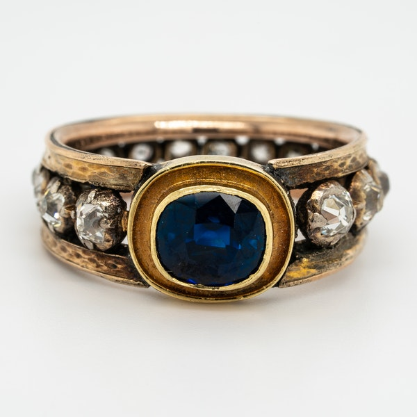"Edwardian sapphire and diamond ""all around"" ring - image 1"
