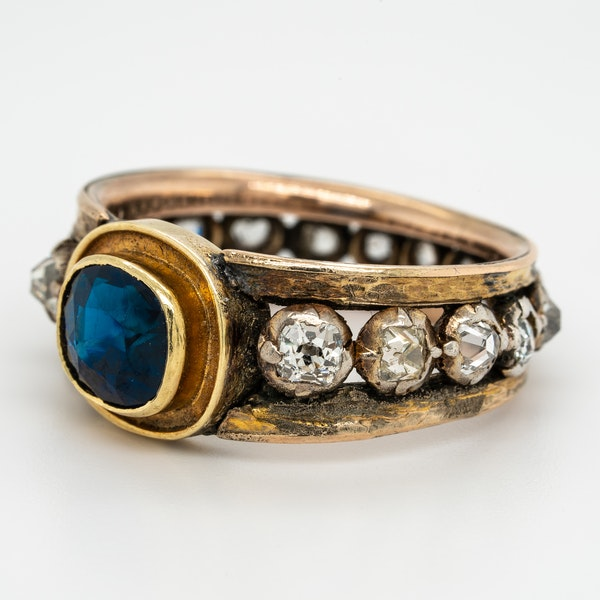 "Edwardian sapphire and diamond ""all around"" ring - image 3"