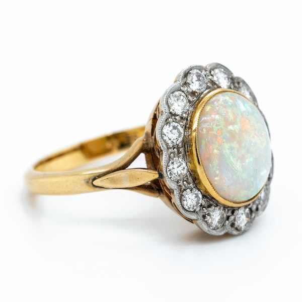 Opal and diamond  Victorian cluster ring - image 2