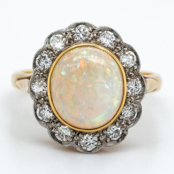 Opal and diamond  Victorian cluster ring - image 1