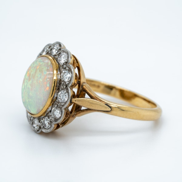 Opal and diamond  Victorian cluster ring - image 3