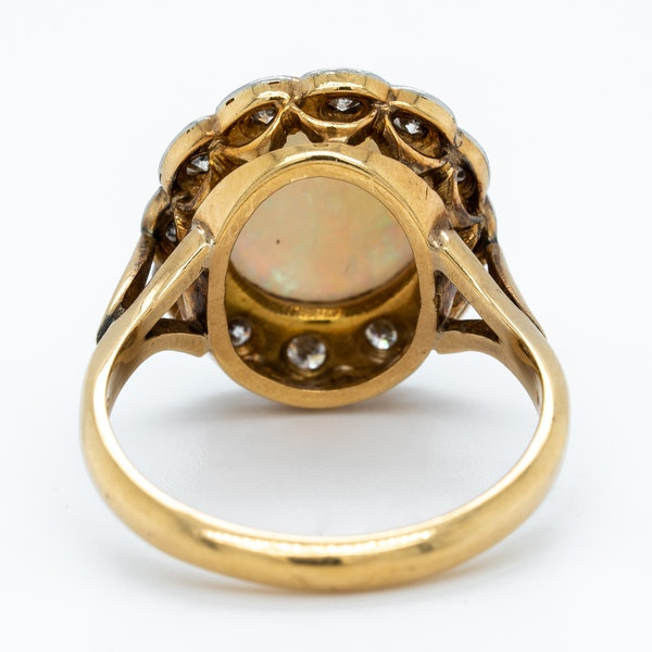Opal and diamond  Victorian cluster ring - image 4