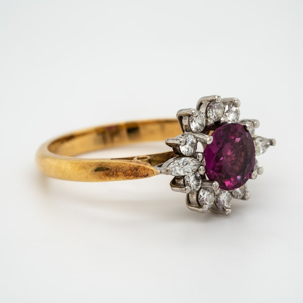 Ruby and diamond vintage cluster ring - image 2