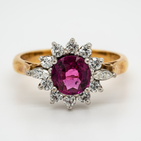 Ruby and diamond vintage cluster ring - image 1