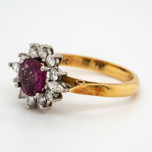 Ruby and diamond vintage cluster ring - image 3