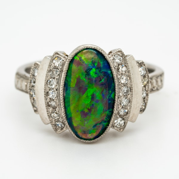 Black opal and diamond retro cluster ring - image 1