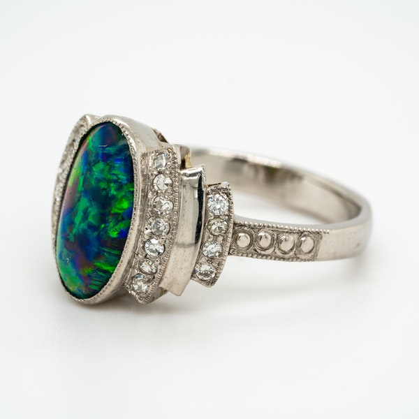 Black opal and diamond retro cluster ring - image 3