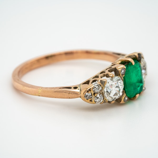 Edwardian emerald and diamond half hoop ring - image 2