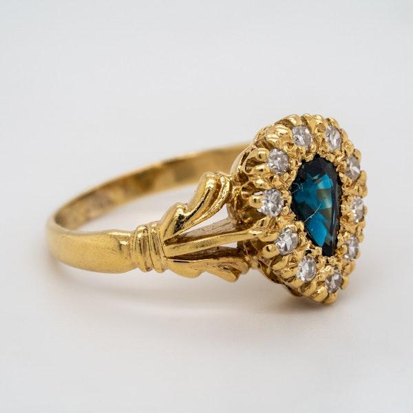 Diamond and sapphire  drop shape Edwardian ring - image 2