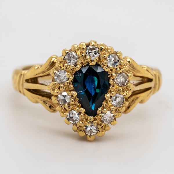 Diamond and sapphire  drop shape Edwardian ring - image 1