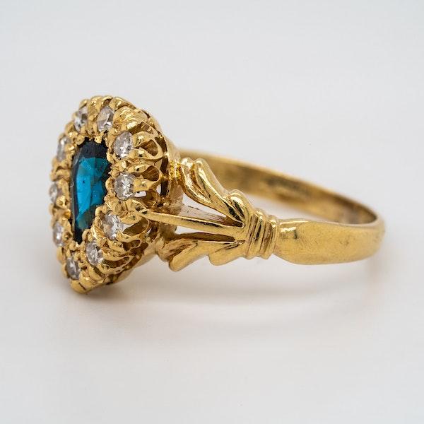 Diamond and sapphire  drop shape Edwardian ring - image 3
