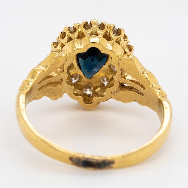 Diamond and sapphire  drop shape Edwardian ring - image 4