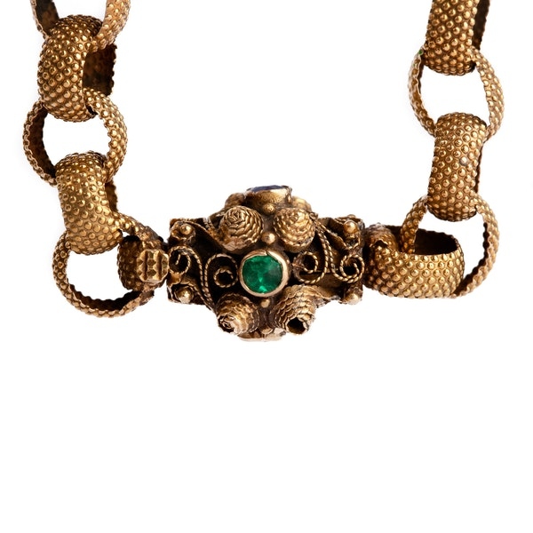 Good example of an 28 carat gold 1830/40's Georgian chain (later boxed) with its gem set clasp - image 2