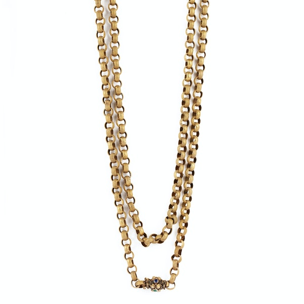 Good example of an 28 carat gold 1830/40's Georgian chain (later boxed) with its gem set clasp - image 1