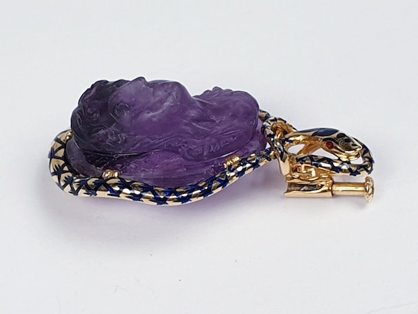 Antique Cleopatra amethyst cameo and entwined asp  DBGEMS - image 3