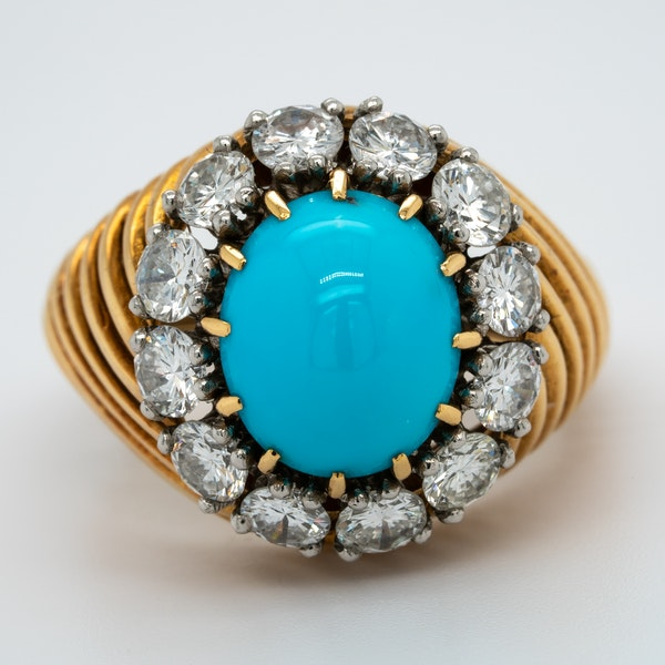 1950's Van Cleef & Arpels Paris turquoise and diamond ring signed,numbered and french marked. - image 1