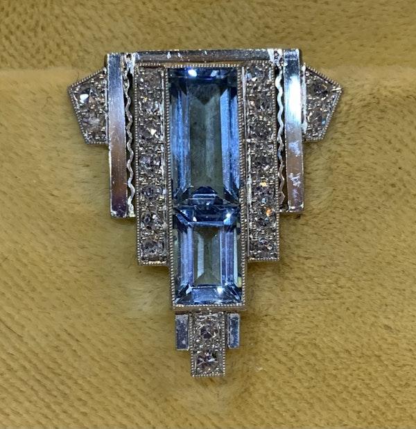 Charming small aquamarine and diamond dress clip circa 1920 - image 1