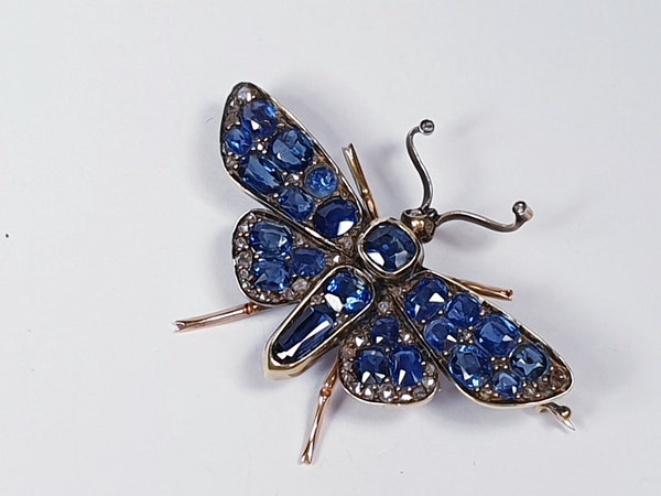 Victorian Sapphire and Diamond Butterfly Brooch  DBGEMS - image 1
