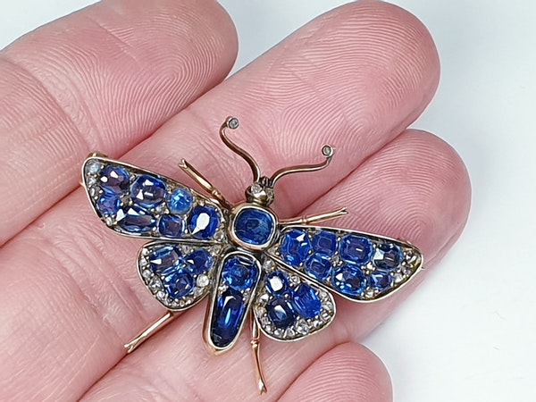 Victorian Sapphire and Diamond Butterfly Brooch  DBGEMS - image 3