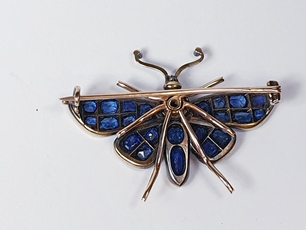 Victorian Sapphire and Diamond Butterfly Brooch  DBGEMS - image 2