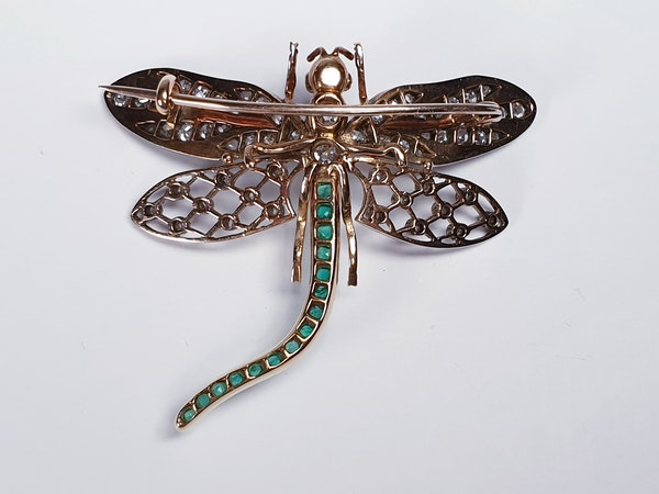 Antique Diamond and Emerald Dragonfly Brooch  DBGEMS - image 4