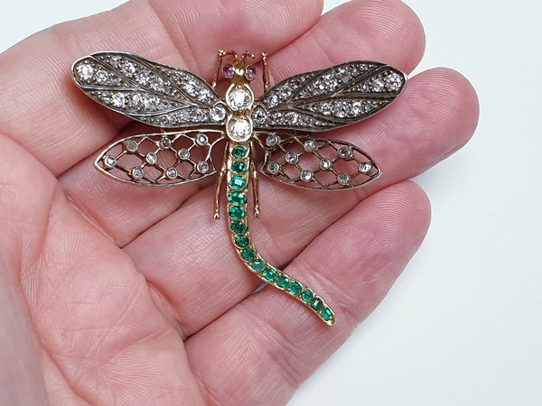 Antique Diamond and Emerald Dragonfly Brooch  DBGEMS - image 2