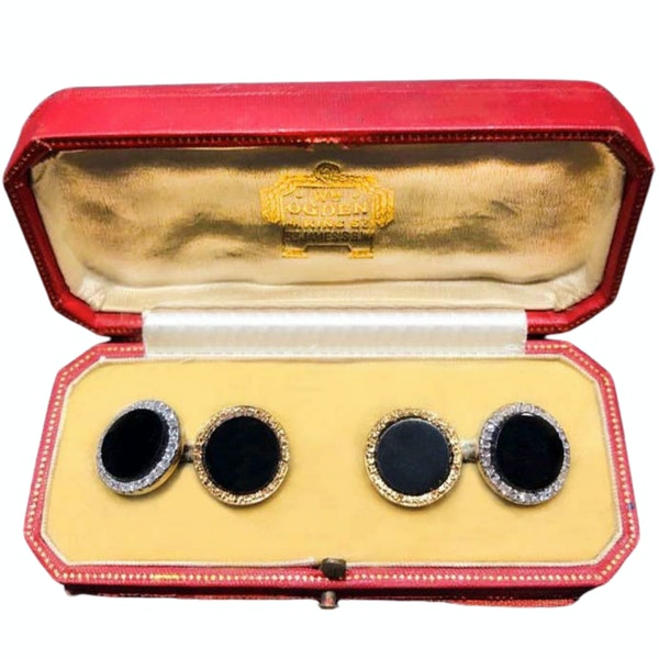 A pair of 1930s Night and Day Onyx and Diamond Cufflinks - image 1