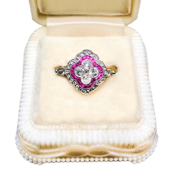 An Art Deco Ruby and Diamond Ring - image 1