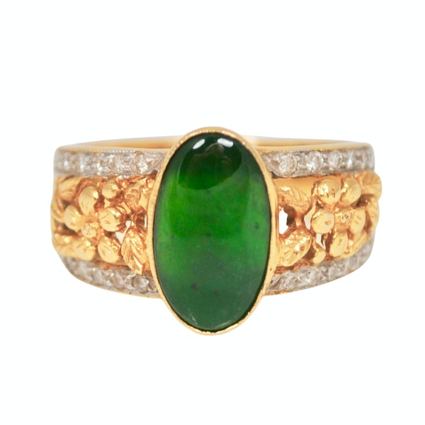 A 1950s Jade and Diamond Ring - image 1