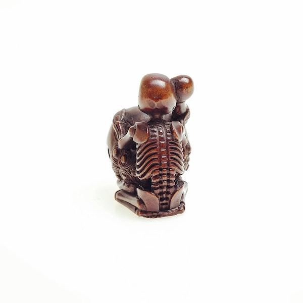 Wood Netsuke of skeleton - image 4