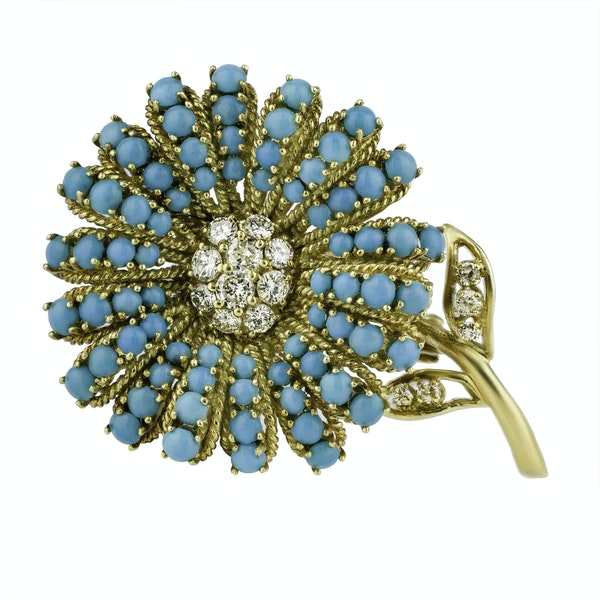 Gold Turquoise and Diamond Brooch - image 2