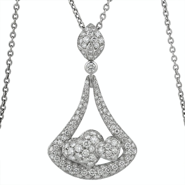 Two Hearts Diamond Pendant - image 1