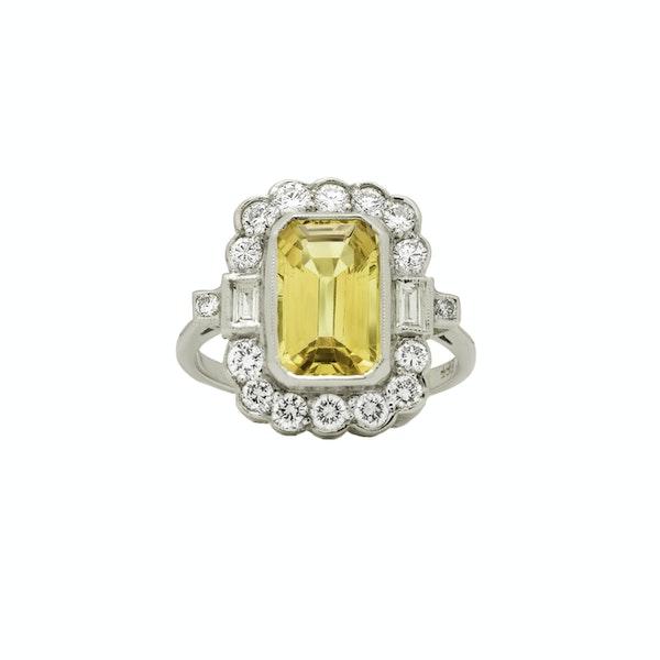 Yellow Sapphire and Diamond Ring - image 1