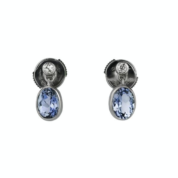 Aquamarine and Diamond Drop Earrings - image 1