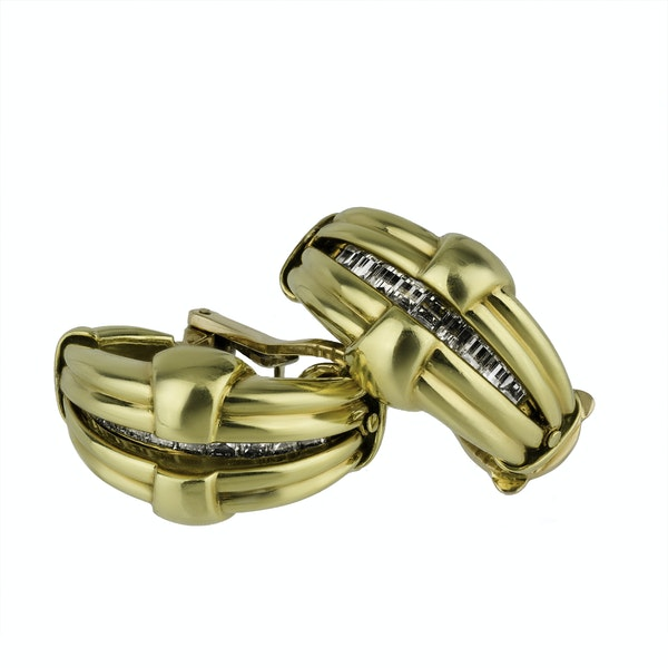 Gold and Diamond Night and Day Earrings - image 1
