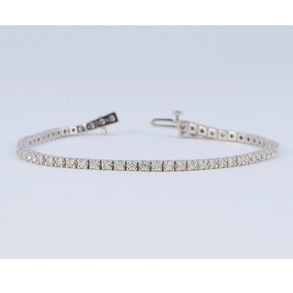 1980's, 18ct White Gold Diamond Tennis Bracelet, SHAPIRO & Co since1979 - image 1