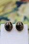 "A fine pair of Oval ""Tigers Eye"" Earrings set in 9ct Yellow Gold, English, Circa 1950 - image 1"