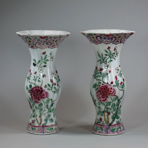 Pair of famille rose vases of baluster shape, Qianlong (1736-95) - image 1
