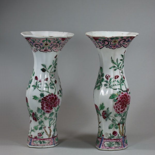 Pair of famille rose vases of baluster shape, Qianlong (1736-95) - image 7