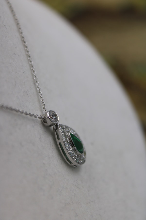 18 Ct White Gold (tested)  Diamond & Emerald Pendant - image 1