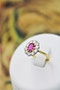 A very fine Oval Natural Ruby & Diamond Cluster Ring mounted in 18ct Yellow Gold, Circa 1955 - image 1