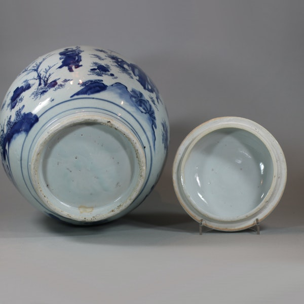 Chinese blue and white transitional baluster vase and cover, circa 1640 - image 5