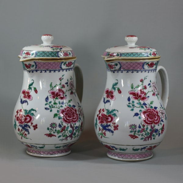 Pair of large Chinese famille rose jugs and covers, Qianlong (1736-95) - image 1