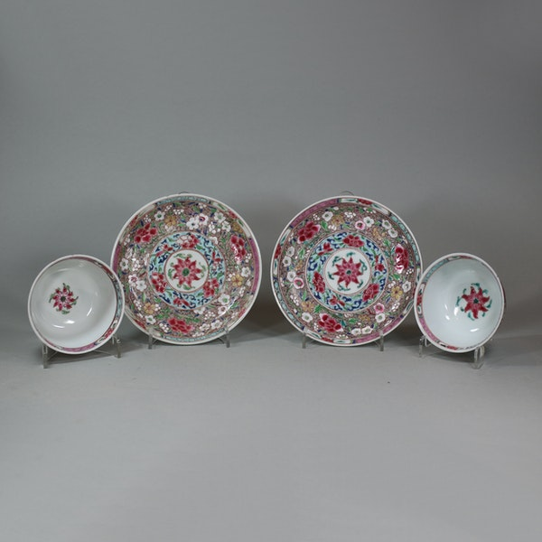 Pair of Chinese famille rose teabowls and saucers, Yongzheng (1723-35) - image 2