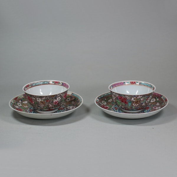 Pair of Chinese famille rose teabowls and saucers, Yongzheng (1723-35) - image 5