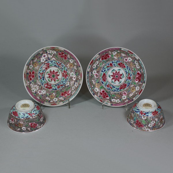 Pair of Chinese famille rose teabowls and saucers, Yongzheng (1723-35) - image 4