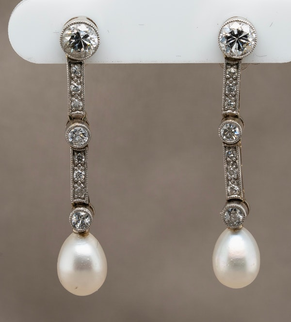 A pair of platinum ,diamond and natural pearl  Edwardian  earrings - image 1