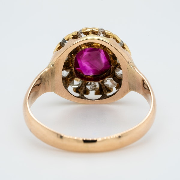 Antique gold ruby and diamond cluster ring - image 4