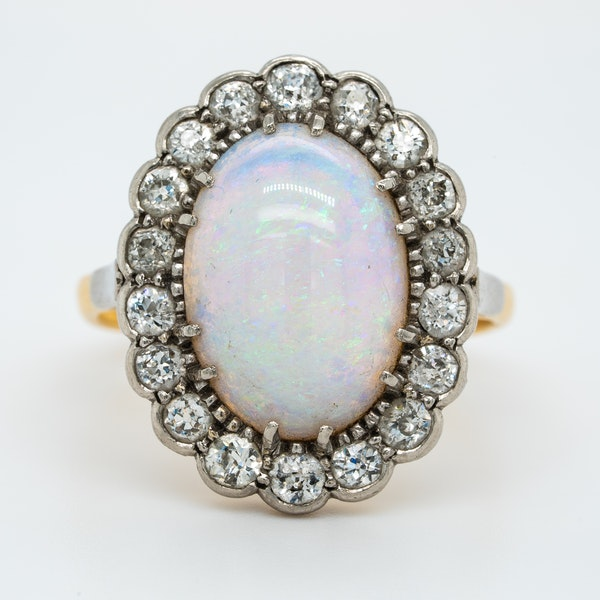 Victorian large opal and diamond oval cluster ring - image 1