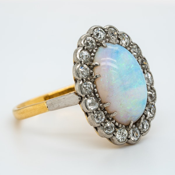 Victorian large opal and diamond oval cluster ring - image 2